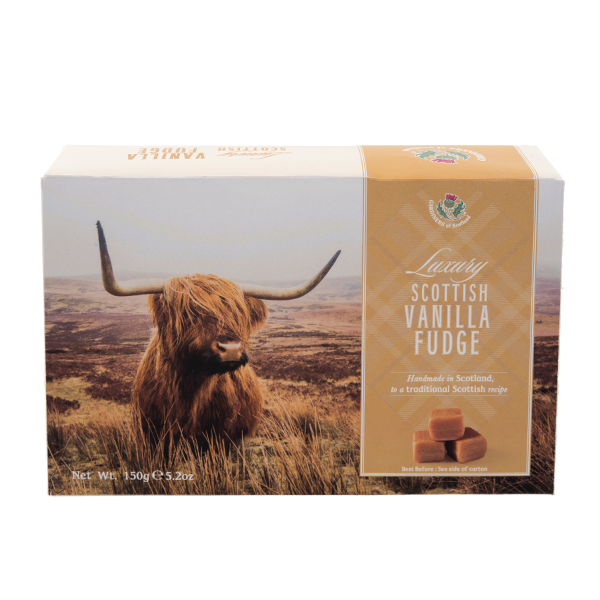 Luxury vanilla fudge highland cow carton