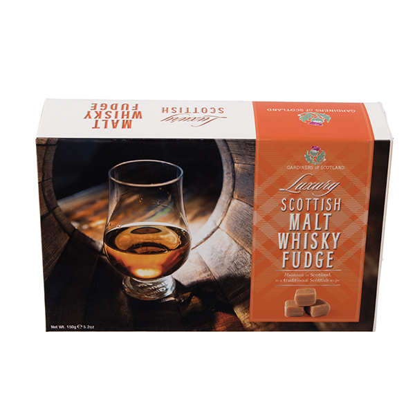 Luxury malt whisky fudge carton glass & barrel