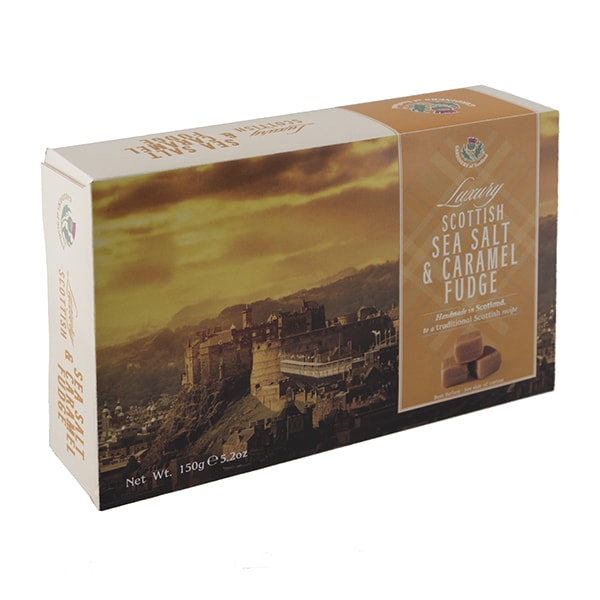 Luxury sea salt & caramel fudge Edinburgh carton