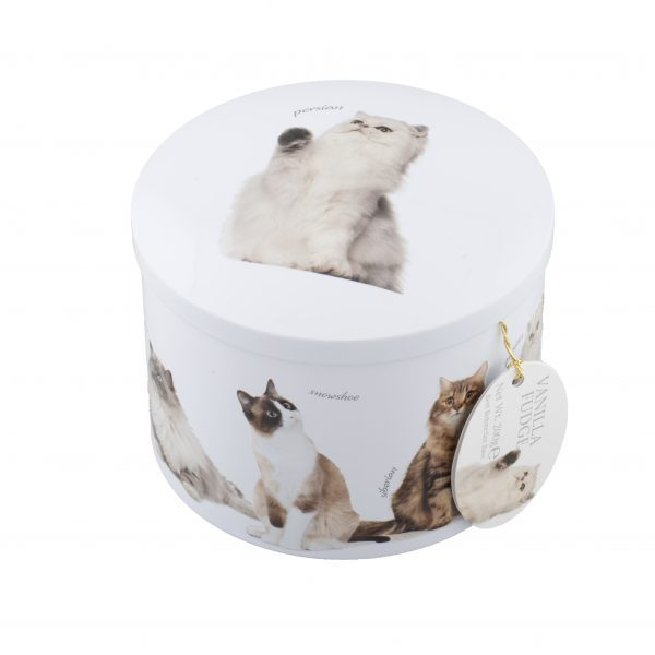 round white tin with various cats