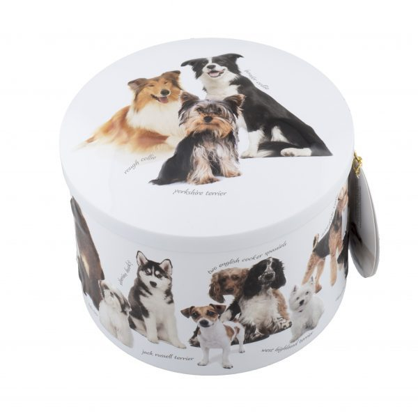round white tin with various dogs