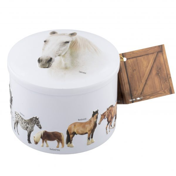 round white tin with various horse breeds