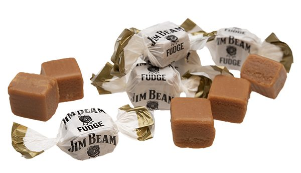 wrapped and unwrapped pieces of Jim Beam Whiskey Fudge
