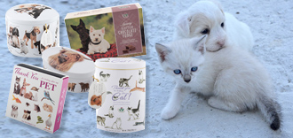 dog and cat gifting tins of vanilla fudge