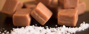 Sea salt & caramel fudge close up
