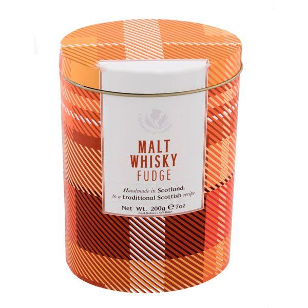 Modern tartan whisky fudge tin